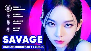 aespa - Savage (Line Distribution + Lyrics Karaoke)