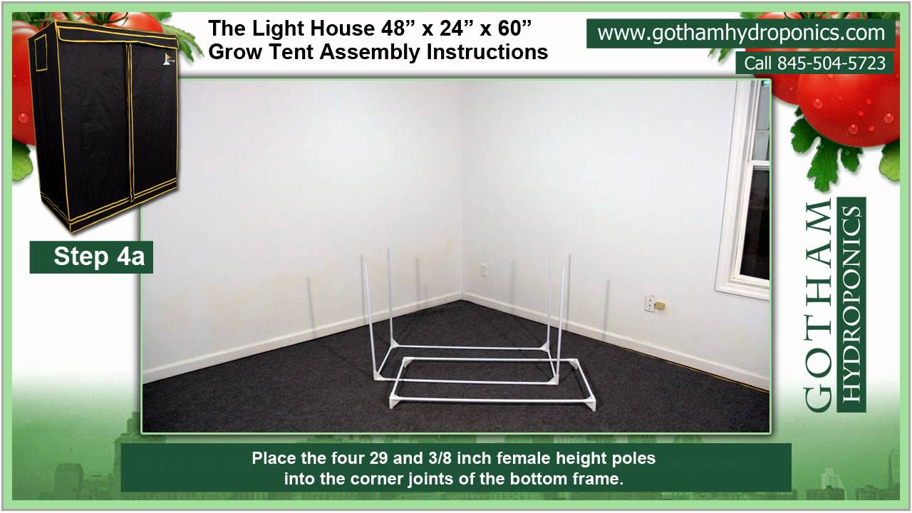 Grow Tent Assembly Instructions for the 4u0027 x 2u0027 x 5u0027 Grow Tent - Gotham Hydroponics & Grow Tent Assembly Instructions for the 4u0027 x 2u0027 x 5u0027 Grow Tent ...