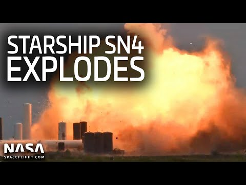 Starship SN4 explodes during a static fire test