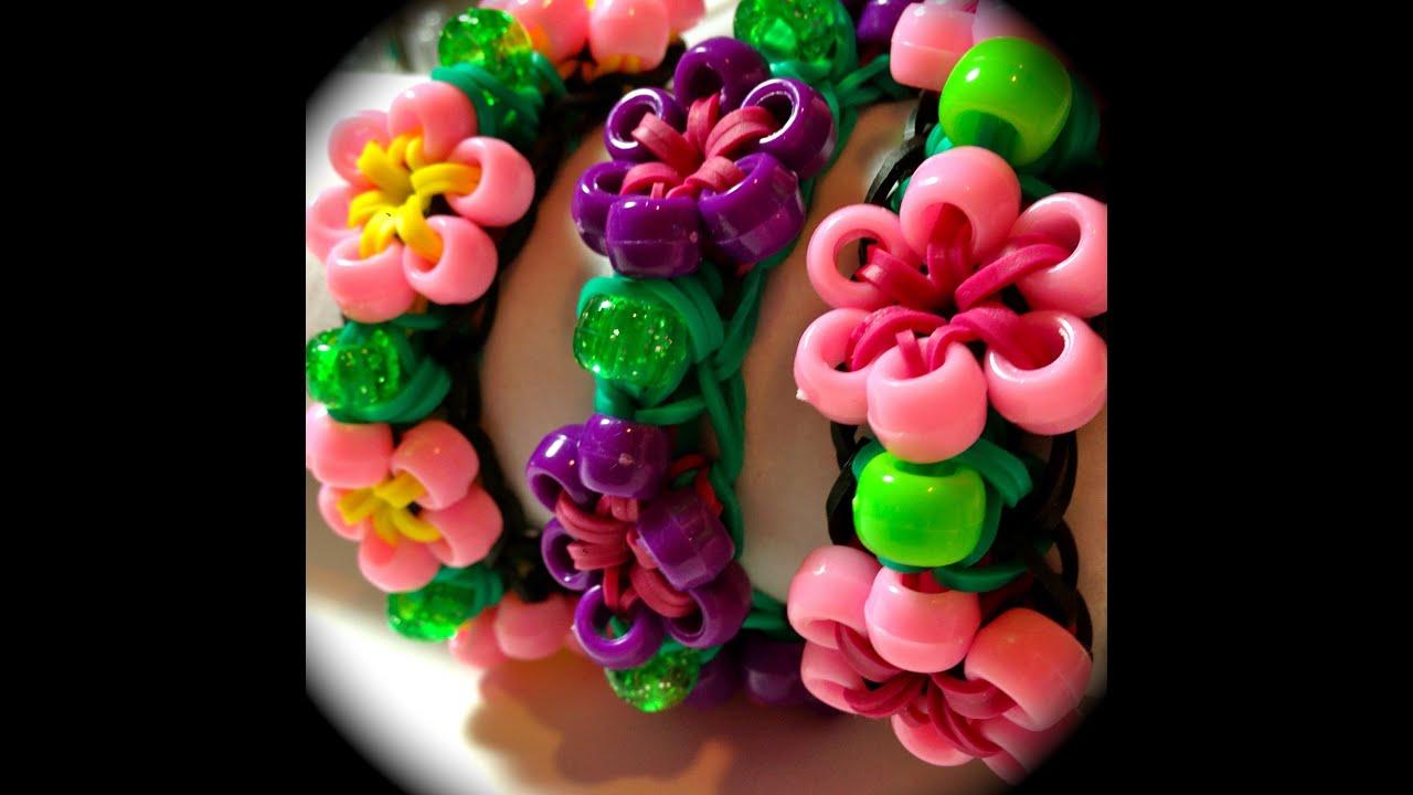 Rainbow Loom Beaded Starburst Flower Bracelet Youtube