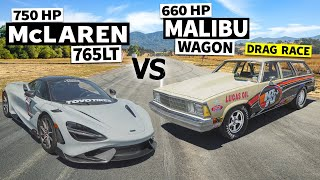 homepage tile video photo for McLaren 765LT Races an 80s Chevy Wagon… With an LS3 and Slicks
