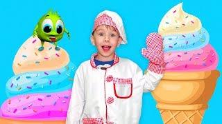 Рома и Хелпик весело играют в магазин  с мороженым Видео для детей kids children
