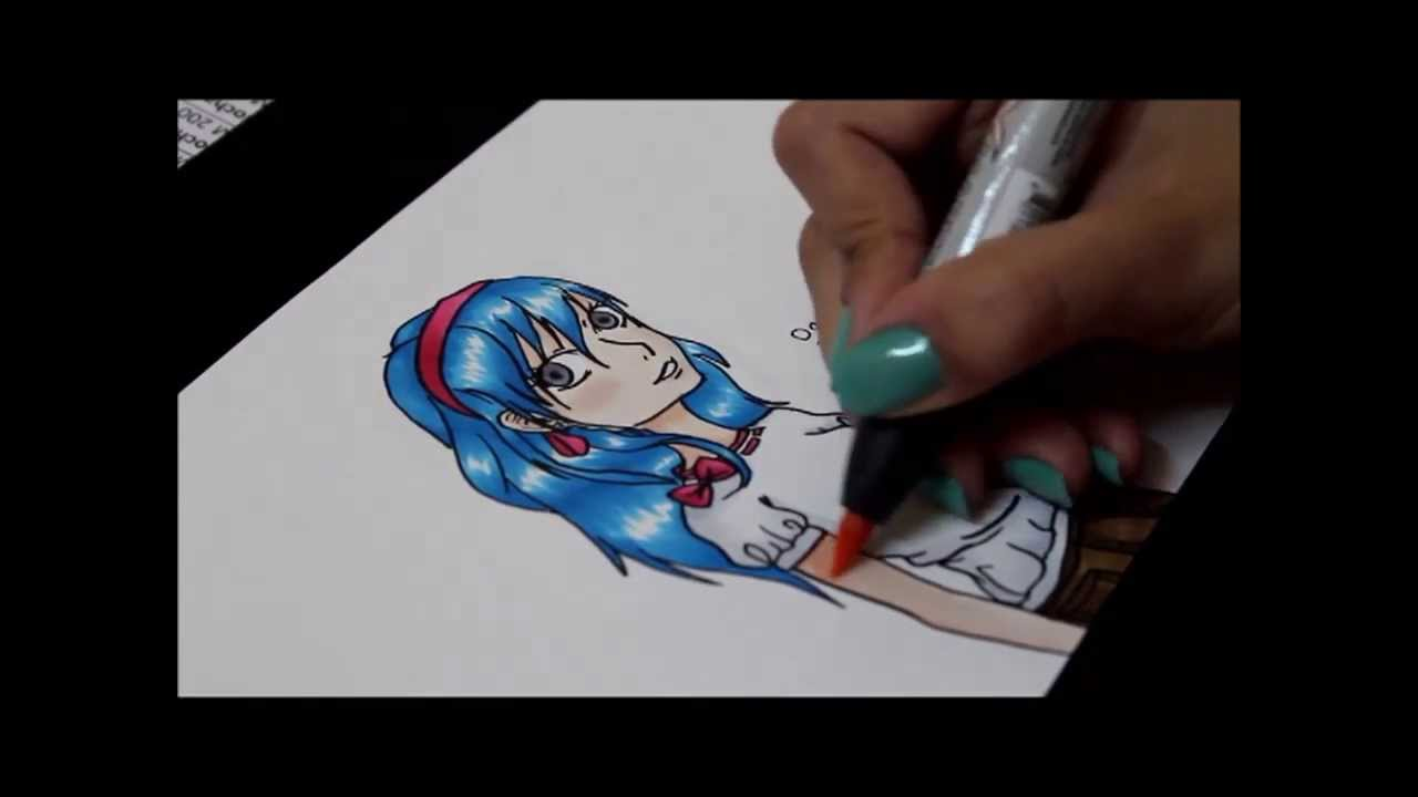 coloring manga with prismacolor markers - YouTube