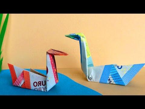 geldscheine falten schwan idee zum geld falten origami vogel zum geldgeschenke basteln. Black Bedroom Furniture Sets. Home Design Ideas