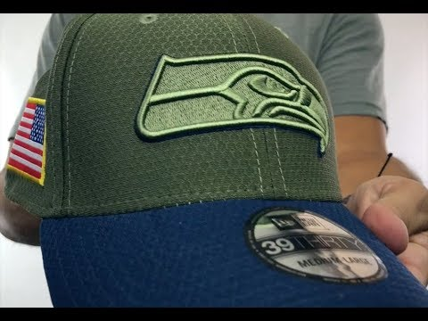 9b14a0d720f801 Seahawks '2017 SALUTE-TO-SERVICE FLEX' Green-Navy Hat by New Era ...