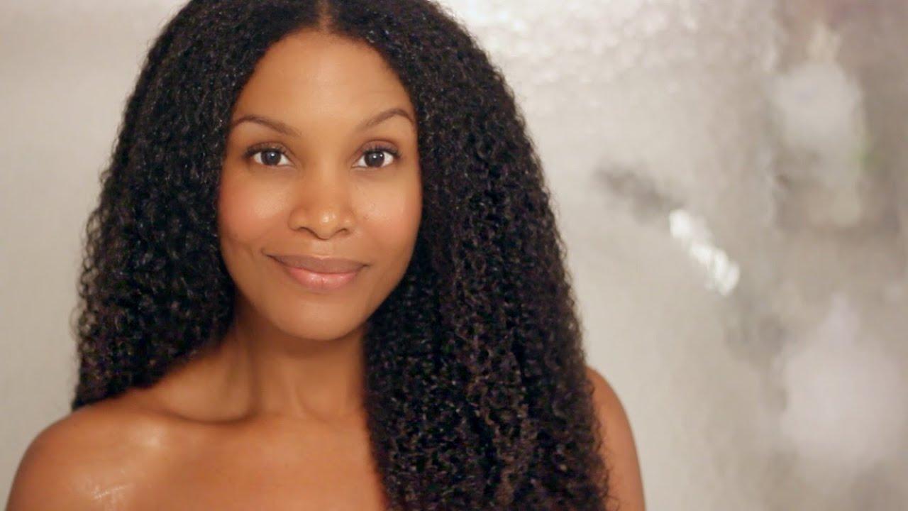 long natural curly hair -wash