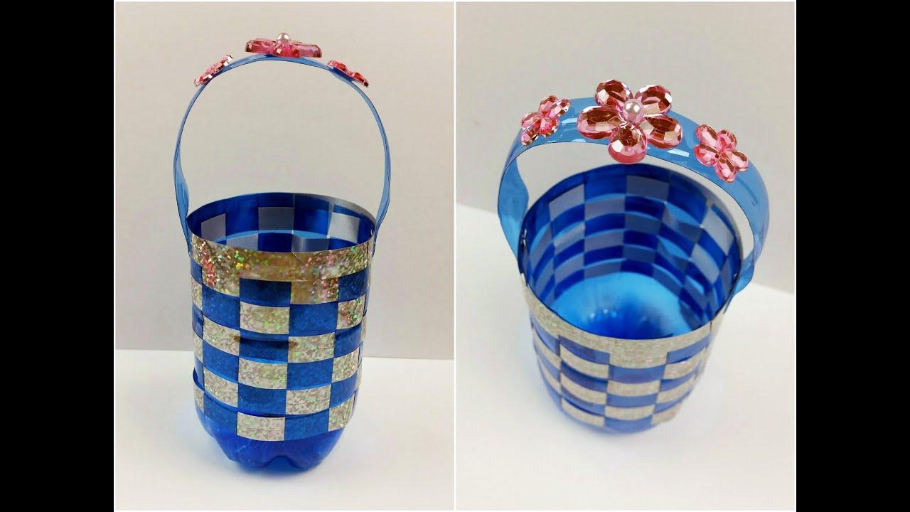 Tutorial cestino con una bottiglia di plastica riciclo diy