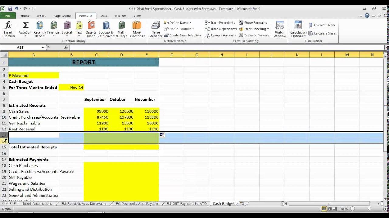 budget sheet definition