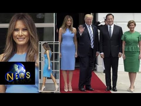 First lady Melania Trump Melania Trump welcomes Panama's President in breathtaking blue dress