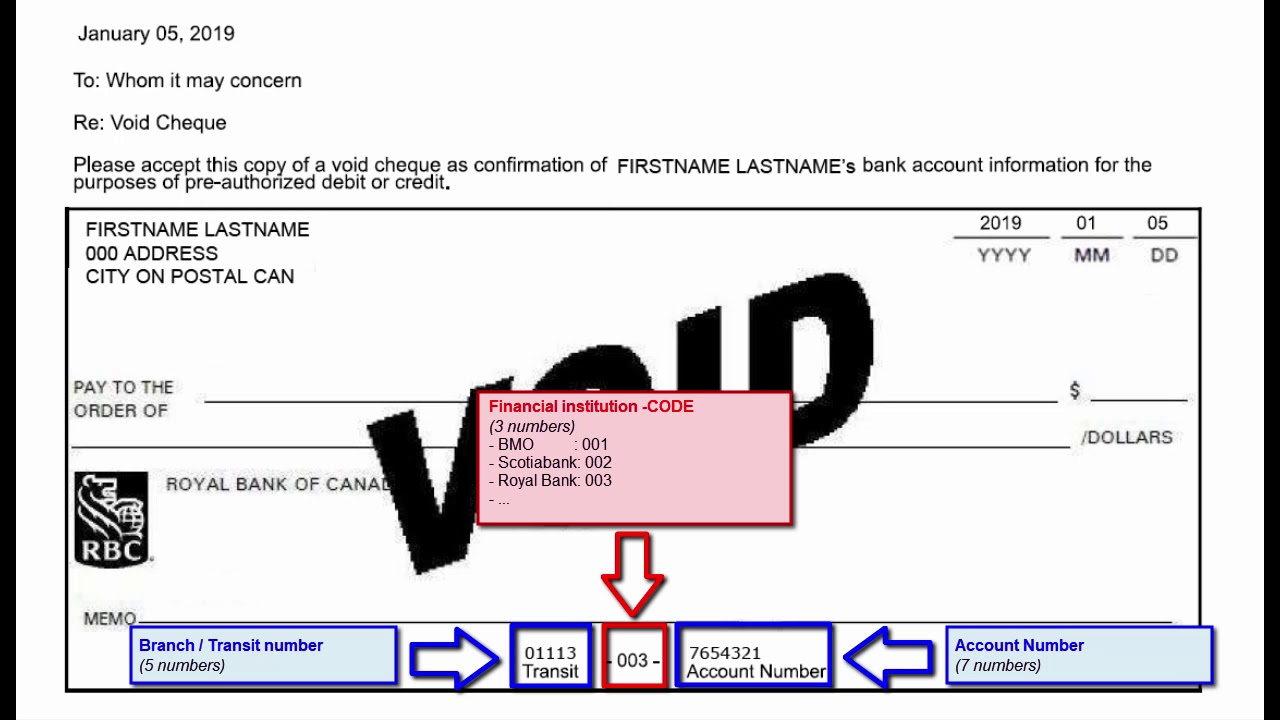 VOID check format, extract bank information from void check. - YouTube