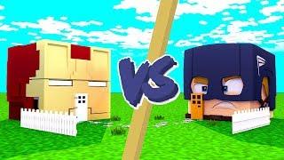 CASA HOMEM DE FERRO VS. CASA CAPITÃO AMÉRICA   OS VINGADORES - Minecraft Casa vs. Casa