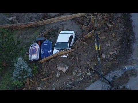 First aerial views of the flood damage in Jamestown