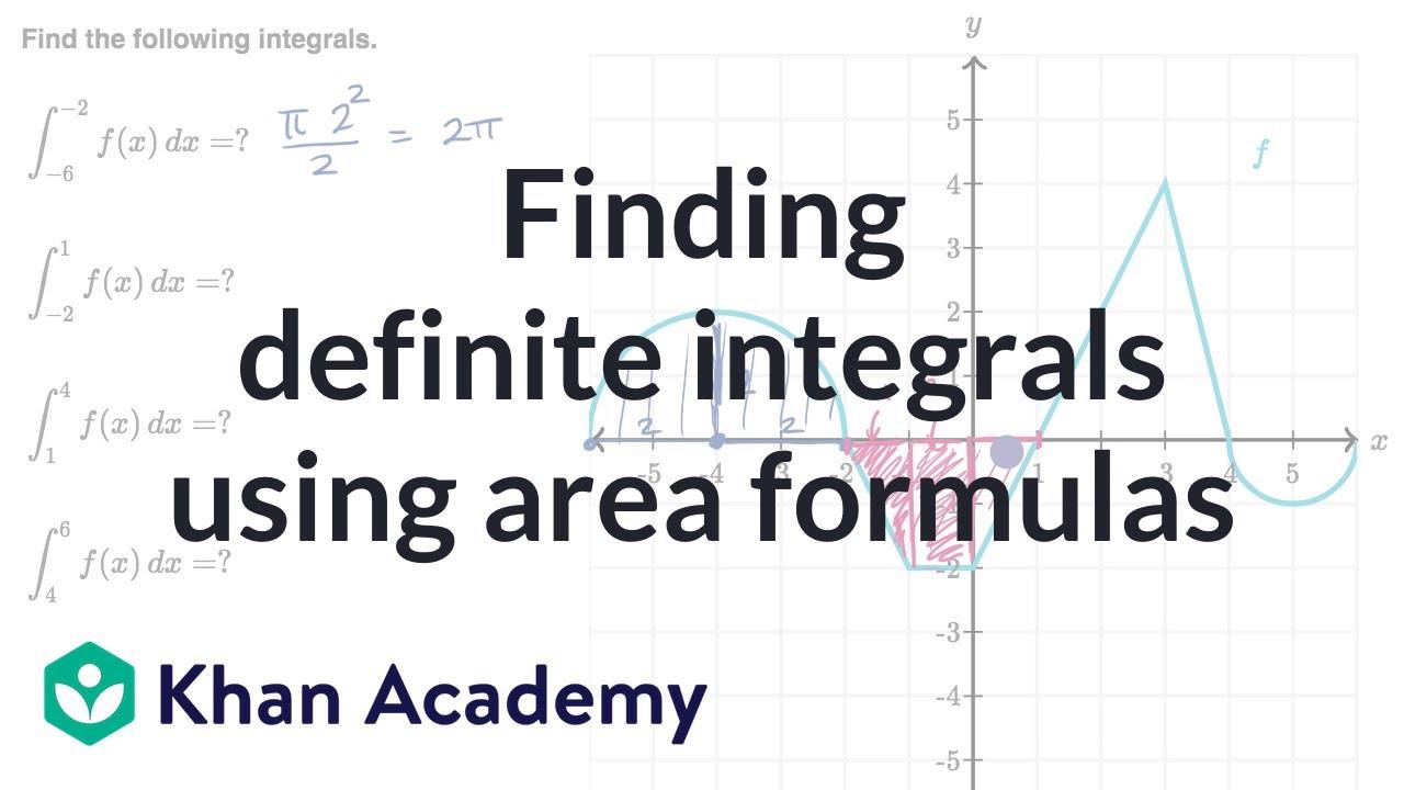 Finding definite integrals using area formulas (video ...