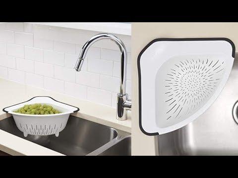 Oxo Corner Colander Kitchen Sink Hanging Straining Basket Youtube