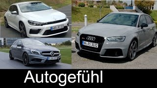 Best Performance Hatch comparison test Audi RS3 vs Mercedes A45AMG vs VW Volkswagen Scirocco R