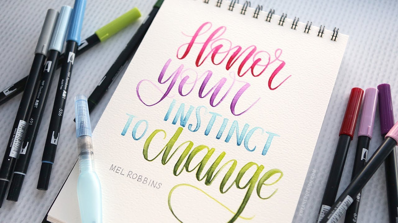 Brush Lettering Blending Tombow Markers With A Water Brush
