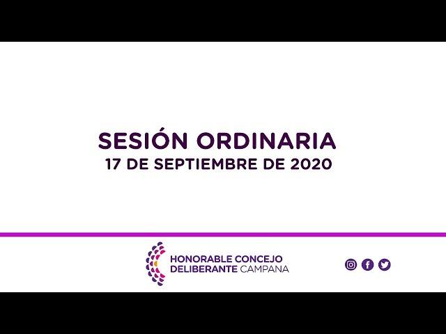 Sesión Ordinaria, 17 de Septiembre de 2020.