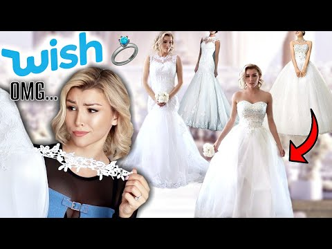 TRYING ON WEDDING DRESSES FROM WISH!!👰