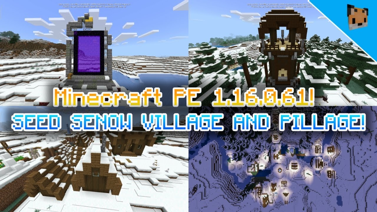 Minecraft Pe 1 16 0 61n Update Seed Nether Portals Mcpe 1 16 0 61 Seed Village And Pillage Youtube