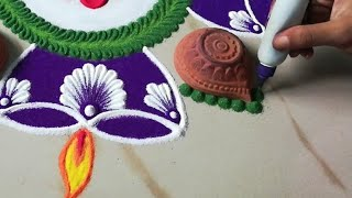 Simple Navratri rangoli design using diya | Diya Rangoli | Laxmi Pooja & Diwali Rangoli by Sangeeta