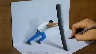 Drawing 3D Show of strength, Trick Art
