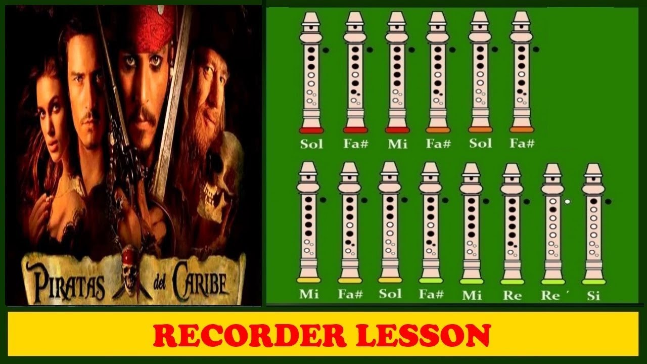 Pirates of the caribbean he s a pirate recorder notes tutorial youtube