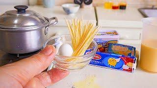 TINY FOOD REAL PASTA EGG MILK & CHEESE | MINIATURE FOOD COOKING | KITCHEN SET | ASMR