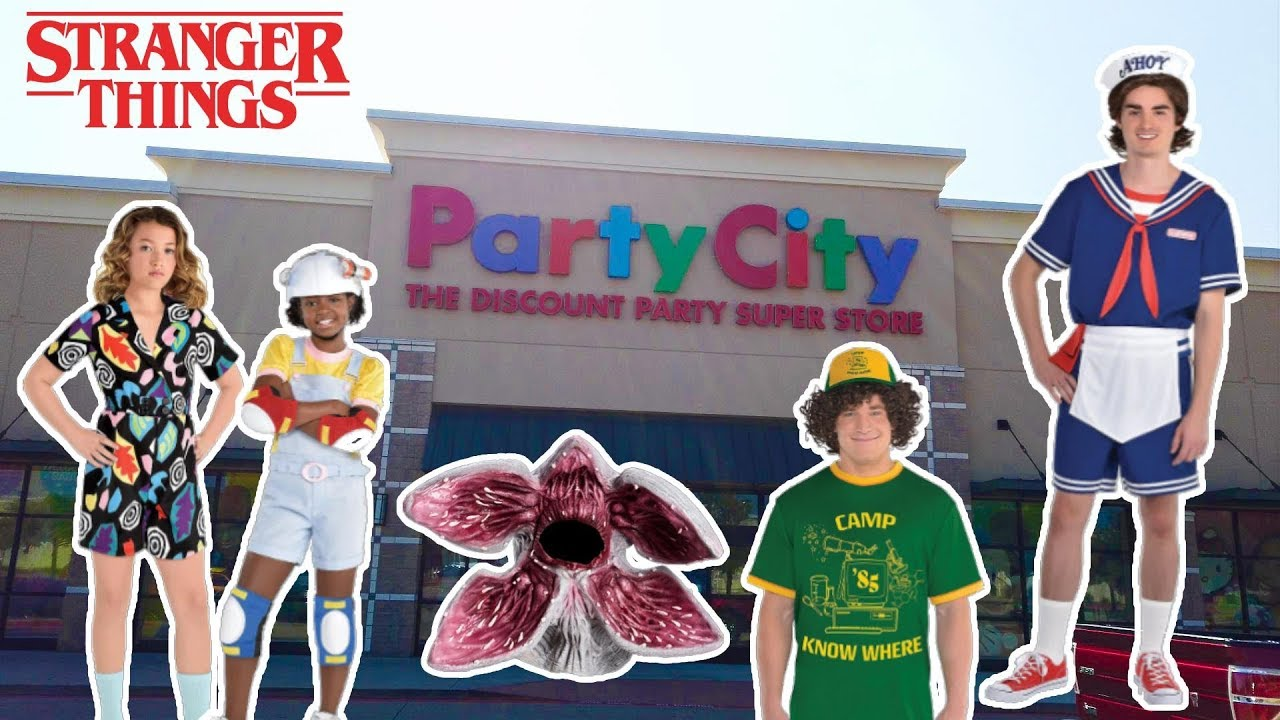 BUYING ALL STRANGER THINGS MERCHANDISE AT PARTY CITY! Halloween Costumes,  Party Ideas!