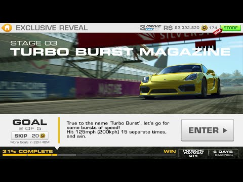 Real Racing 3:- Exclusive Reveal Stage 03 Goal 2 TURBO BURST MAGAZINE Porsche Cayman GT4