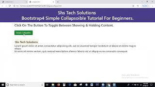 Simple Collapsible In Bootstrap4 |Bootstrap4 Simple Collapsible Tutorial | Simple Collapsible Button