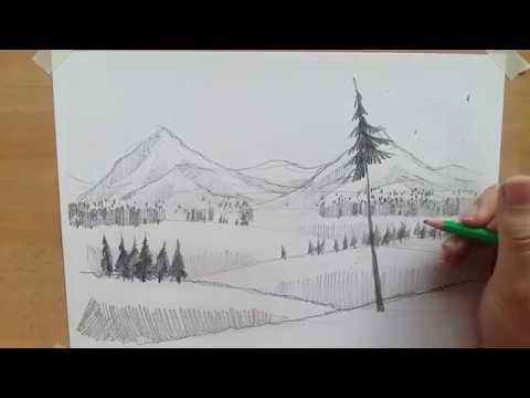 hoe teken je een landschap met diepte - youtube