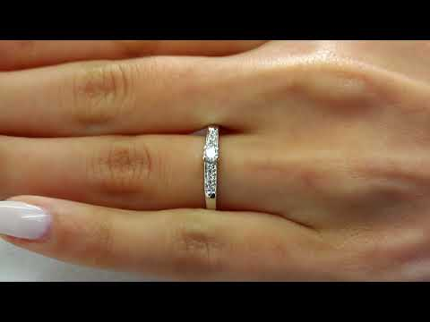 1/7 CTW Round Diamond Engagement Promise Ring in 14K White Gold (MDR130018)