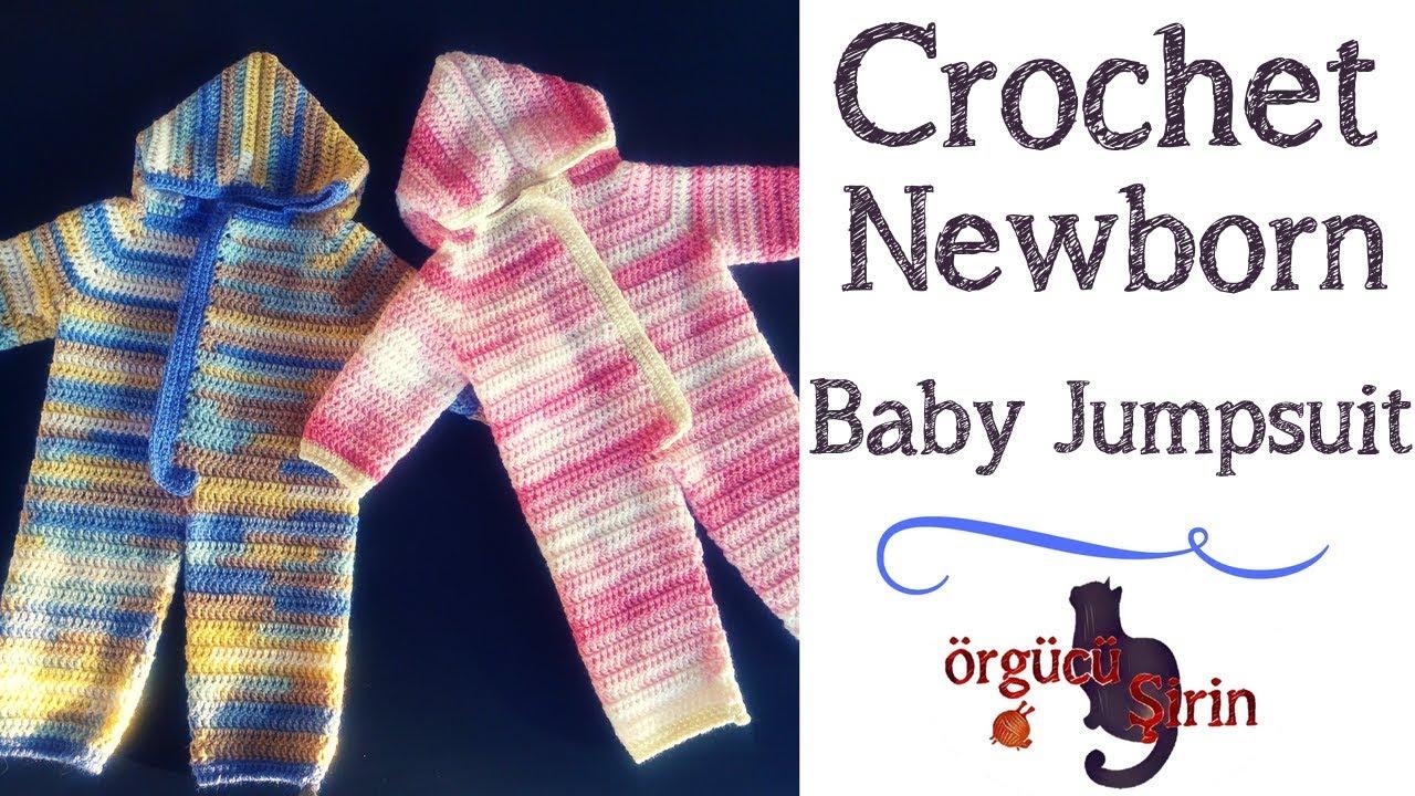 Crochet Newborn Baby Jumpsuit / Sleeper - YouTube