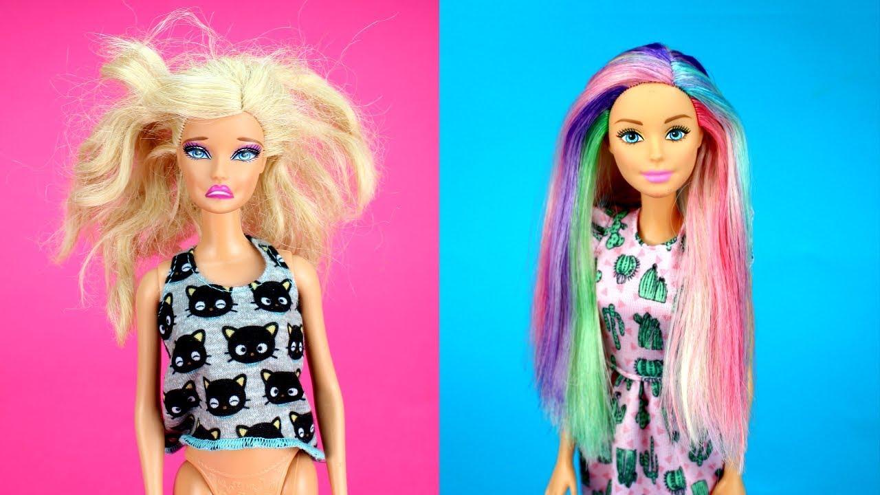 diy barbie hairstyles rainbow color