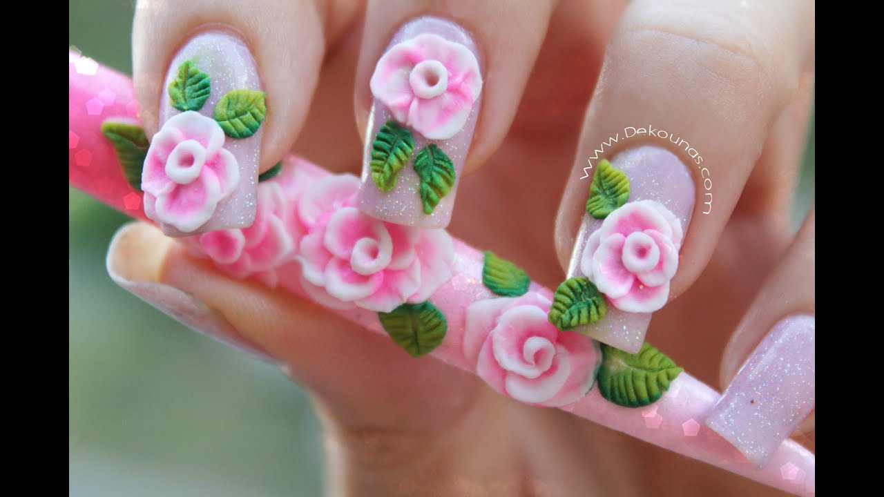 decoracin de uas rosa d en acrlico how to make pink d acrylic roses youtube
