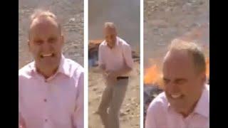 Reportero termina drogado y con  ataques de risa tras grabar quema de droga