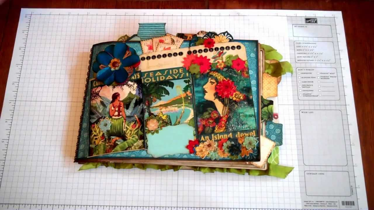 Graphic 45 Tropical Travelogue Mini Album Journal Using