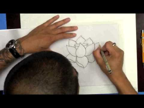 Drawing A Lotus Flower From Eddie Tana Of OC Tattoo Inc ( Better Audio Version)