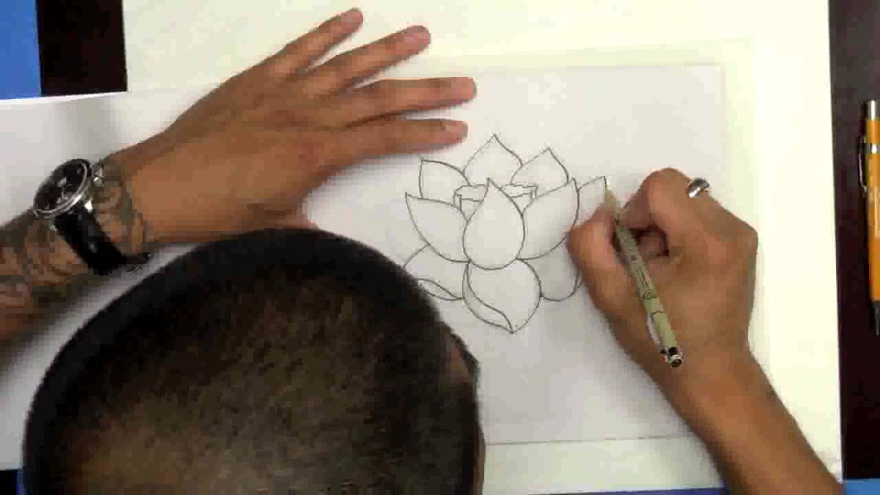 Drawing A Lotus Flower From Eddie Tana Of Oc Tattoo Inc ( Better Audio  Version)  Youtube