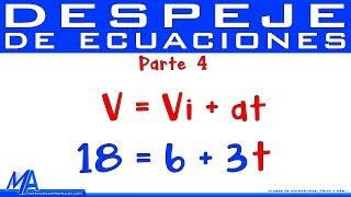 Despeje de ecuaciones   Despejar una variable   Parte 4