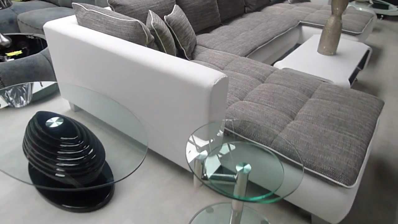 Grand canapé d'angle CADO contemporain en simili cuir et ...