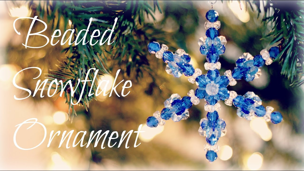 Beaded snowflake ornaments bead ornament tutorial youtube for Where can i find christmas decorations