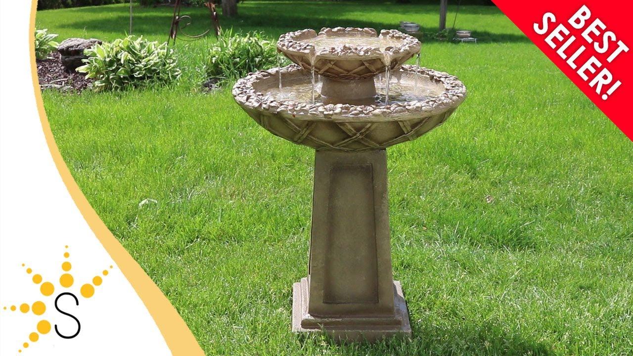 Sunnydaze Beveled Flower 2 Tier Birdbath Water Fountain