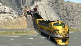 BeamNG Drive Stressed Out #11 with 100 Vehicles - Huge Train Crash