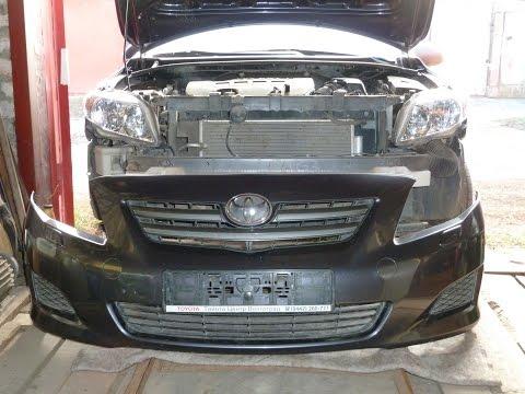 Снятие переднего бампера Toyota Corolla 08. Removing the front bumper.