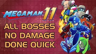 Mega Man 11 - All Miniboss & Boss Speedrun (No Damage) (Challenge Mode Gold Rank)