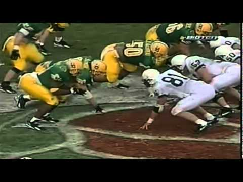 Oregon LB Reggie Jordan intercepts a pass from PSU QB Kerry Collins in the 1995 Rose Bowl