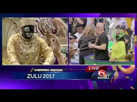 Zulu king arrives at Gallier Hall for 2017 toast!