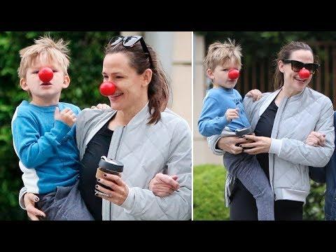 Jennifer Garner Clowns Around With Son Samuel On Red Nose Day