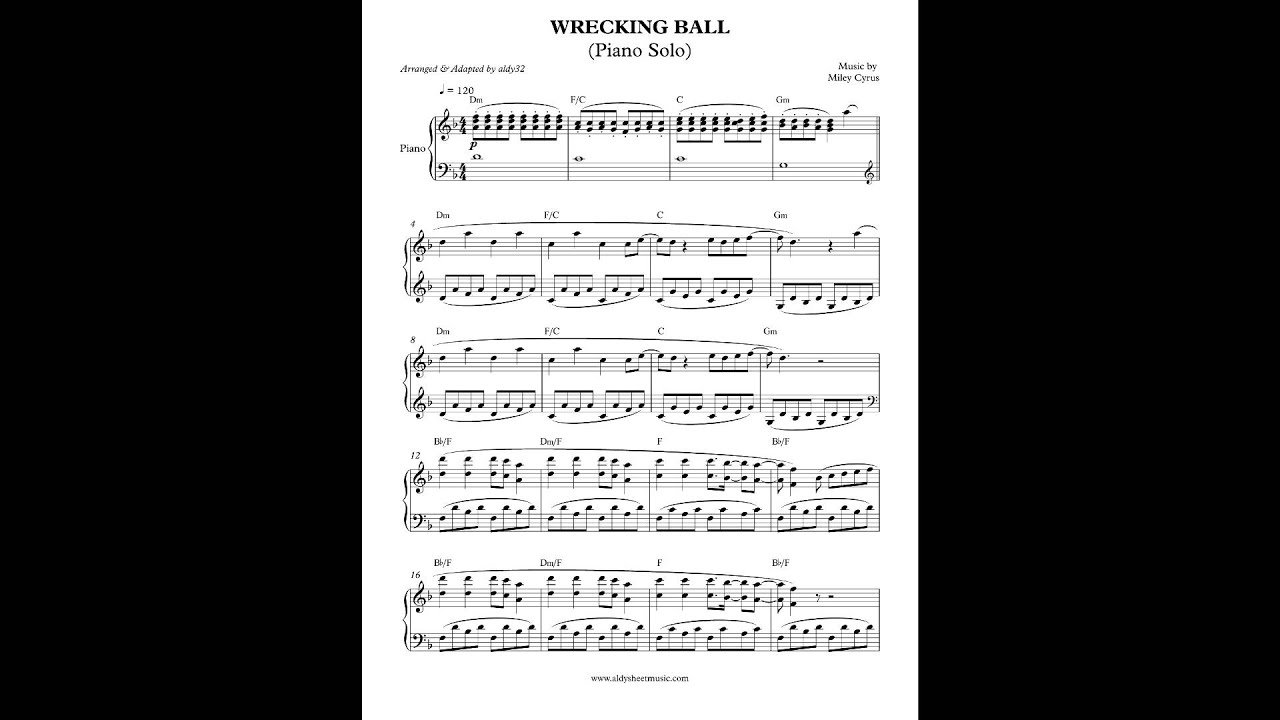 wrecking ball by miley cyrus piano cover by aldy32 youtube